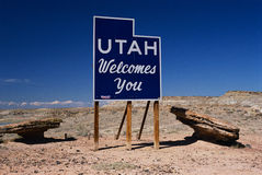Utah Welcome to road sign Stock Photos