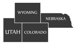 Utah - Wyoming - Colorado - Nebraska Map labelled black. Illustration Royalty Free Stock Photography