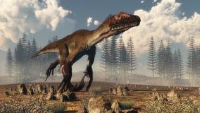 Utahraptor恐龙在沙漠- 3D回报 免版税库存照片