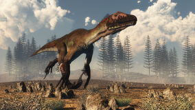 Utahraptor dinosaur in the desert - 3D render. Utahraptor dinosaur running in the desert, calamite forest in the background - 3D render Royalty Free Stock Photo