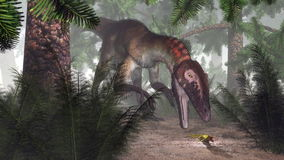 Utahraptor dinosaur hunting a gecko - 3D render Royalty Free Stock Photos