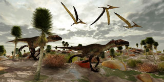 Utahraptor Hunt Royalty Free Stock Photos