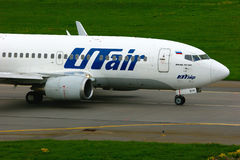 UTair Airline Boeing 737-500 aircraft  in Pulkovo International airport in Saint-Petersburg, Russia Royalty Free Stock Photo