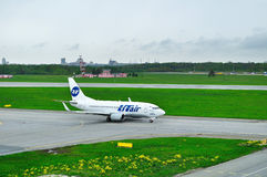 UTair Airline Boeing 737-500 airplane  in Pulkovo International airport in Saint-Petersburg, Russia Royalty Free Stock Photography