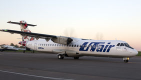 Utair-Ukraine Airlines ATR-72 aircraft runnig on the runway Stock Photo