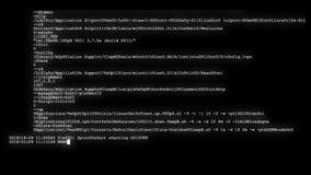 Utajnionego postu scrolling programowania długa ochrona sieka kodów dane przepływu strumienia na czarnego białego pokazu nowej il zdjęcie wideo