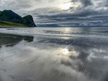 Utakleiv beach HDR during summer stock photos