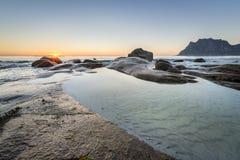 Utakleiv beach, Lofoten Island coastline, Norway Royalty Free Stock Photo