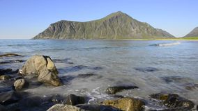 Utakleiv beach, Lofoten Island coastline. Utakleiv beach on Vestvag Island, Lofoten Archipelago, North Norway, Scandinavia stock footage