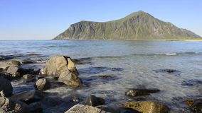 Utakleiv beach, Lofoten Island. Utakleiv beach on Vestvag Island, Lofoten Archipelago, North Norway, Scandinavia stock video