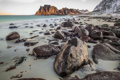 Utakleiv beach, a fantastic sandy and rocky beach. Utakleiv beach in Lofoten, Norway, a fantastic sandy and rocky beach stock photos