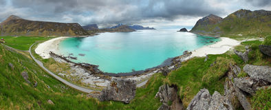 Utakleiv beach in norway, panorama Royalty Free Stock Image