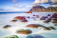 Utakleiv-Strand, Lofoten, Norwegen Lizenzfreies Stockfoto