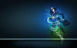 Utalentowany rozochocony biznesmena doskakiwanie z rozjarzonymi energetycznymi liniami Zdjęcie Royalty Free