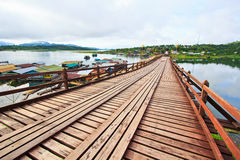 Utamanusorn bridge or Morn bridge, Thailand. It is the longest bamboo bridge in Thailand and the second one in the world. It is across Songkhalia river in Stock Photo