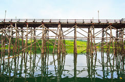 Utamanusorn bridge or Morn bridge, Thailand. It is the longest bamboo bridge in Thailand and the second one in the world. It is across Songkhalia river in Royalty Free Stock Photography