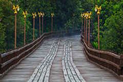 Utamanusorn bridge or Morn bridge, Thailand. It is the longest bamboo bridge in Thailand and the second one in the world. It is across Songkhalia river in Stock Image