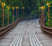 Utamanusorn bridge or Morn bridge, Thailand. It is the longest bamboo bridge in Thailand and the second one in the world. It is across Songkhalia river in Stock Photography