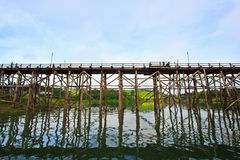 Utamanusorn bridge or Morn bridge, Thailand Royalty Free Stock Photo