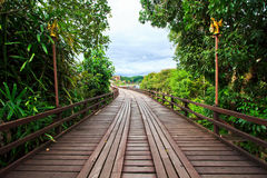 Utamanusorn bridge or Morn bridge, Thailand. It is the longest bamboo bridge in Thailand and the second one in the world. It is across Songkhalia river in Royalty Free Stock Photo