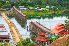 Utamanusorn bridge or Morn bridge was destroyed by natural diaster, Thailand. It is the longest bamboo bridge in Thailand and the second one in the world. It is Royalty Free Stock Photography