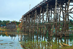 Utamanusorn bridge or Morn bridge was destroyed by natural diaster, Thailand Stock Images
