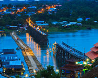 Utamanusorn bridge or Morn bridge was destroyed by natural diaster, Thailand Stock Photography