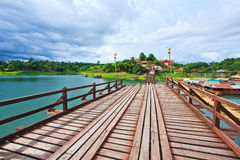 Utamanusorn bridge or Morn bridge was destroyed by natural diaster, Thailand. It is the longest bamboo bridge in Thailand and the second one in the world. It is Royalty Free Stock Photo