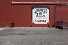 Utanför en mötesplats för levande musik i Nashville Tennessee Royaltyfri Fotografi