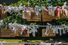 Utasu Jinja Shrine. Kanazawa, Japan - May 4, 2016: Ema plaques and Paper fortune at Utasu Jinja Shrine near Higashi Chaya District (East Geisha District) in Stock Image
