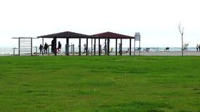 Utbildande område för offentlig sport nära sjösidan stock video