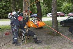 utbildande räddningsaktionfolk som begravas i spillror av byggnader Royaltyfri Fotografi