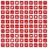 100 utbildande symboler ställde in grunge röd Arkivbild