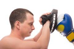 Utbildning av två boxare på en vit Royaltyfria Bilder