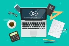 Utbildning direktanslutet via bärbar datorvektorillustrationen, plan tecknad filmtabell med kurs för video för distansutbildning  royaltyfri illustrationer