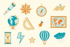 Utbildning för geografinavigeringobjekt med olika objekt - vektorillustration stock illustrationer