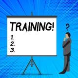 Utbildning för ordhandstiltext Affärsidé för att organiserad aktivitet ska framkalla expertisuppsättningen av uppvisning av affär stock illustrationer
