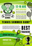 Utbildning för tennissportkoloni, vektor vektor illustrationer
