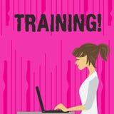 Utbildning för textteckenvisning Det begreppsmässiga fotoet organiserade aktivitet för att framkalla expertisuppsättningen av upp stock illustrationer