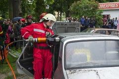 utbildning för uppgiftsbrandmanbrandmän Royaltyfri Fotografi