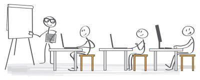 Utbildning för vektorillustrationaffär stock illustrationer