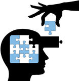 utbildning lärer lösningen för meningspersonpussel royaltyfri illustrationer