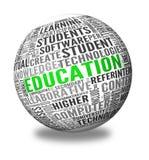Utbildning och att lära begreppsord i etikett cloud Arkivbild
