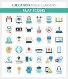 Utbildning och E-lära plana symboler för runda arkivfoton