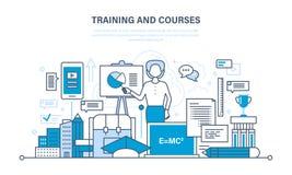 Utbildning och kurser, distansutbildning, teknologi, kunskap, undervisning och expertis stock illustrationer