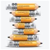 Utbildning och lärablyertspenna av ämnesmomentet Infographic Diagra vektor illustrationer