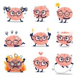 Utbildning och många för rolig hjärna gullig handling stock illustrationer