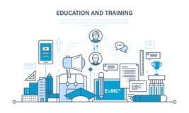Utbildning och utbildning, distansutbildning, teknologi, kunskap, undervisning och expertis stock illustrationer