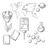 Utbildning och vetenskap skissar symboler Royaltyfri Bild