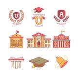 Utbildning, skola, akademi, högskola och universitet royaltyfri illustrationer